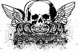 grunge winged skull  vector illustration