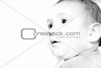 close up portrait of a baby over white