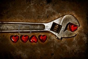 Five grunge hearts