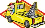 Tow Wrecker Truck Driver Thumbs Up
