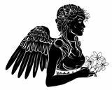 Stylised angel woman illustration