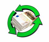 stacks of euro recycling