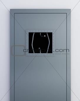 broken grille on the door of the prison