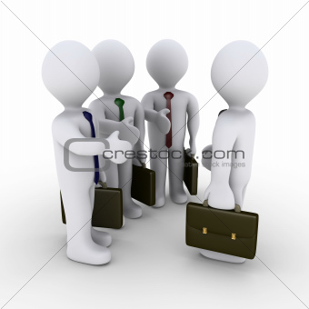 Three businessmen offer handshake