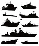 High detailed military ship  silhouettes  set. Vector
