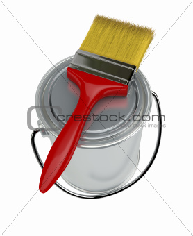 paint can and paintbrush