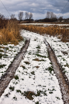 Frosty roadtrack on Funen, Denmark