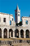 White Church and the Ancient Roman Amphitheater in Pula, Istria,