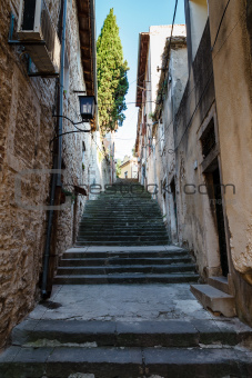 Narrow Street and Stairway in Pula, Croartia