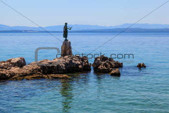 Bronze Sculpture of Maiden with Seagull on Background a Sea in O