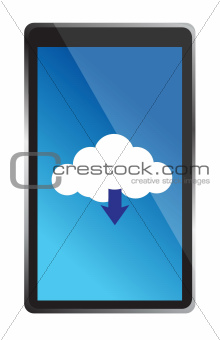 mobile phone with blue cloud computing icon