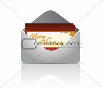 Envelope and red card merry christmas