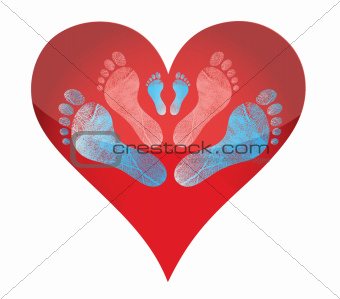 heart footprints