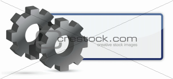 blank sign and gear wheel