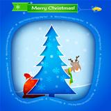 Vector blue christmas card, tree, funny deer and gifts