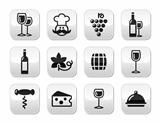 Wine buttons set - glass, bottle, restaurant, food