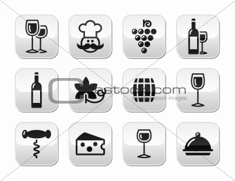 Wine buttons set - glass, bottle, restaurant, food