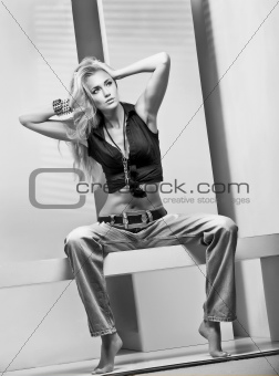 the girl in the photo studio