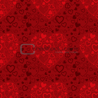 vector red seamless pattern with hearts
