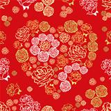 vector red seamless pattern with flower hearts