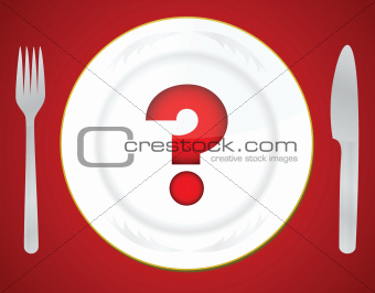 Red question mark on white plate