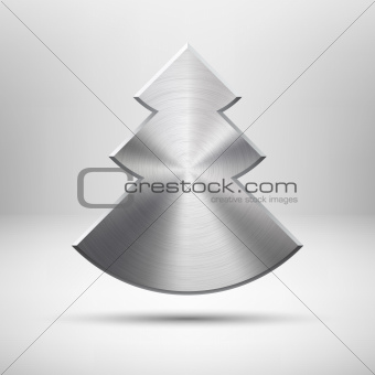 Tecnology Christmas tree icon with metal texture