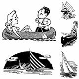 Vector Retro Vacation and Boating Graphics