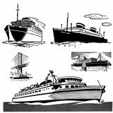 Vector Retro Cruise and Yacht Graphics