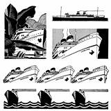 Vector Retro Cruise Ship Graphics