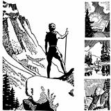 Vector Retro Hiker Graphics