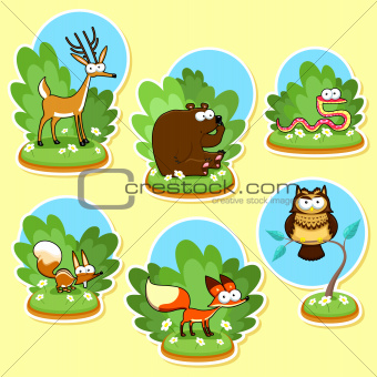 Funny wood animals. Vector and cartoon illustration