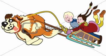 dog pulling sledge