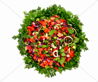 mixed salad on white background