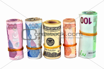 various Turkish Lira and dollar white background