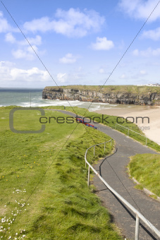 cliff walk view of beach and cliffs in Ballybunion