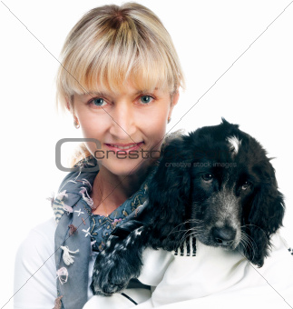 cocker spaniel and young woman