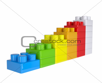 Staircase of colored children's blocks
