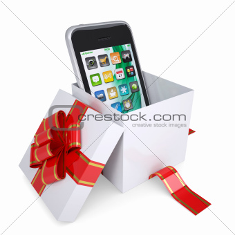 Smartphone in the gift box with red ribbons