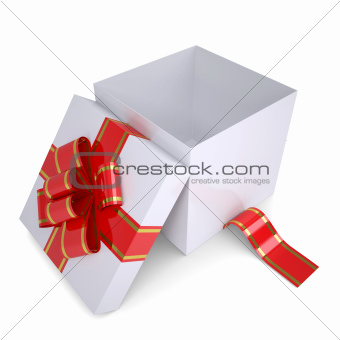 Open white gift box decorated with a red ribbon