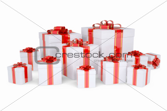 Many boxes of gifts decorated with red ribbons