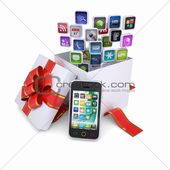 Application icons of the gift box next to the smartphone