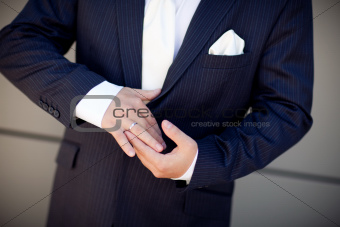wedding ring of the groom