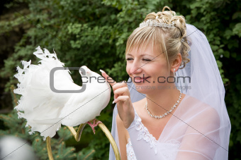 bride and white pigeon