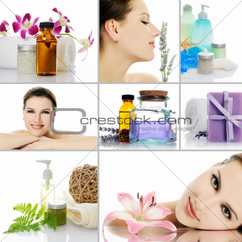 beauty spa collage on white