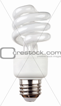 Energy saving fluorescent light bulb isolated on white