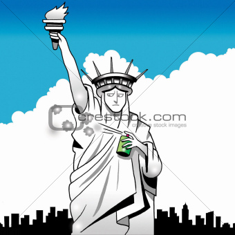 Statue of Liberty sprays underarm with deodorant