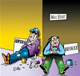 Broke and broker on Wall Street corner