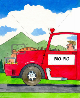 Car powered by bio pig eating grain