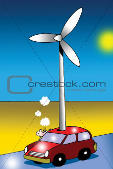 Driver must blow on windmill powered car