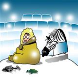 Surprised Eskimo sees a zebra in igloo